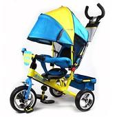 Велосипед колясочный, желто-голубой, усил.двойн.ручка, подшипники