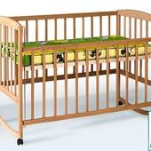Гойдалка детская кроватка из бука с опускающейся боковиной