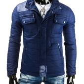 Стеганая синяя мужская весенняя куртка