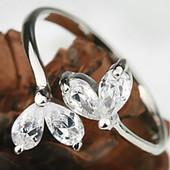 Кольцо - листик с цирконами серебро 925 безразмерное (до 17 р.)