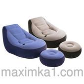 Надувное велюровое кресло Intex 68564 с подстаканником, с пуфиком 130х99х76 см