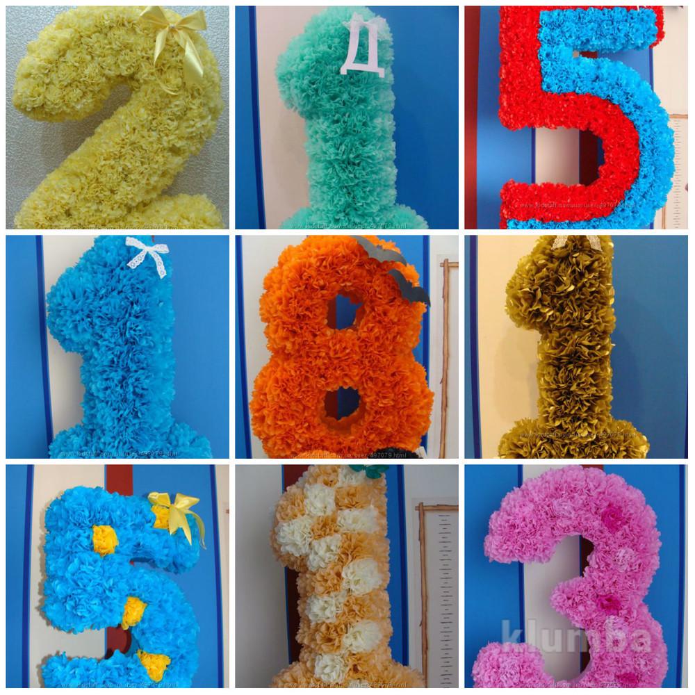 Цифры из помпонов тишью на день рожденья цифра фото №1