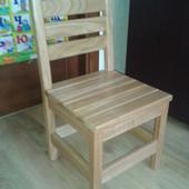 Дерев'яний дитячий стілець з черешні з похилою спинкою, детский стул, стульчик
