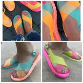 супер стильные женские резиновые неоновые сандалии