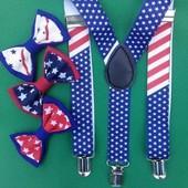 набор - подтяжки и бабочка Звезды, американский флаг