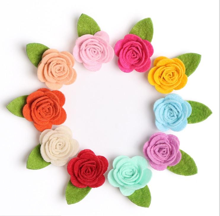 Заколочки цветочки из фетра фото №1