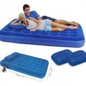 Комплект Bestway: надувной ортопедический матрас + 2 подушки + насос