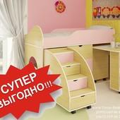Кровать низкая с столом