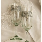 Свадебные бокалы для шампанского. Стильные инкрустированные свадебные бокалы.