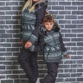 Зимний стеганный костюм детский Олени 2 цвета
