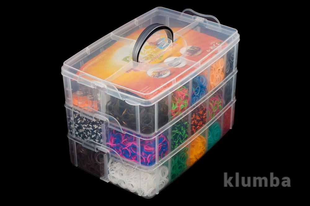 Набор 10000 резинок для плетения браслетов rainbow loom bands станок крючки шармы бусы в ящике  фото №1