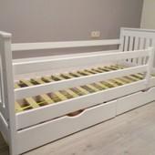Кровать детская Адель массив ольха(80*160 и 80*190) + матрас и ящики Акция +Подарок