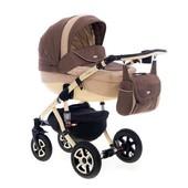 Универсальная коляска 2 в 1 Adamex Barletta 408L коричневый с бежевым