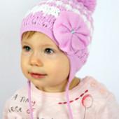 в наличии новая демисезонная детская шапка с цветком Лилия