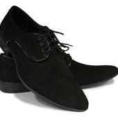классические мужские туфли натур. замш  2 модели