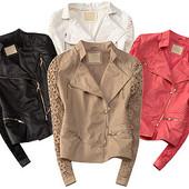 женская стеганая куртка косуха с гипюровыми рукавами в наличие