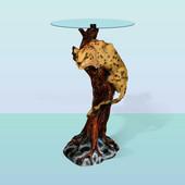 Стол стеклянный с декоративным основанием Ягуар