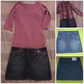 Юбка джинсовая с пайетками. 140-146 см