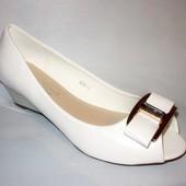 Туфли белые летние Б555  р.36.37