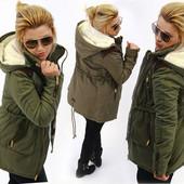 Теплая женская зимняя куртка парка два цвета