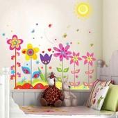 Интерьерная наклейка на стену Цветы и солнышко