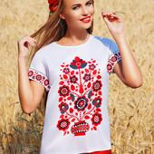 """Женская блуза-кимоно 2Н узор """"Цветы"""" с коротким рукавом"""