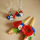Комплект Бокали та Свічки для наречених