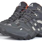Термо кроссовки Adidas Gore Tex Terrex мужские кожаные серые с оранжевым