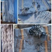 Голубые шторы, тюль и держатели
