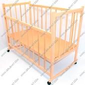 Деревянная кроватка-качалка с опусканием и колесами №4