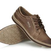 Коричневые мужские кроссовки из натуральной кожи,Польша