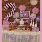 Оформление,декор,цифры и буквы з гофрированной бумаги , помпоны, колпаки, праздничное шампанское!!!