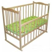 Эко-кроватка детская -колесики и люлька, без лака.