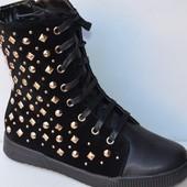 Ботинки зимние замшевые черные на шнурках С187 р.37