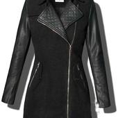 Демисезонное шерстяное женское пальто с рукавами из эко-кожи