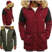 Мужская зимняя хлопковая куртка парка на меховой подкладке