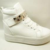 Ботиночки женские белые липучка стразы Д476