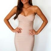Бежевое сексуальное бандажное платье без бретелей Lybly 025
