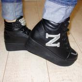Ботинки слипоны женские черные Д416 р.35,36