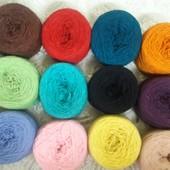 нитки, цветная пряжа для вязания. шерсть без синтетики.