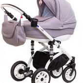 Детская коляска 2 в 1 Adamex Lara - Pik8, серый (строчка)