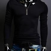 Стильная эластичная футболка с длинным рукавом и капюшоном Black. Производства Украина