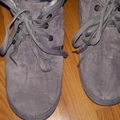 Короткие серые угги на шнурочках Klf