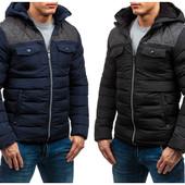 Мужская зимняя стеганная куртка на меховой подкладке