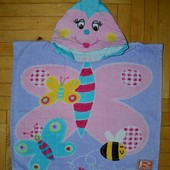 Фирменное Детское полотенце - пончо плотное махровое  С капюшоном Бабочка