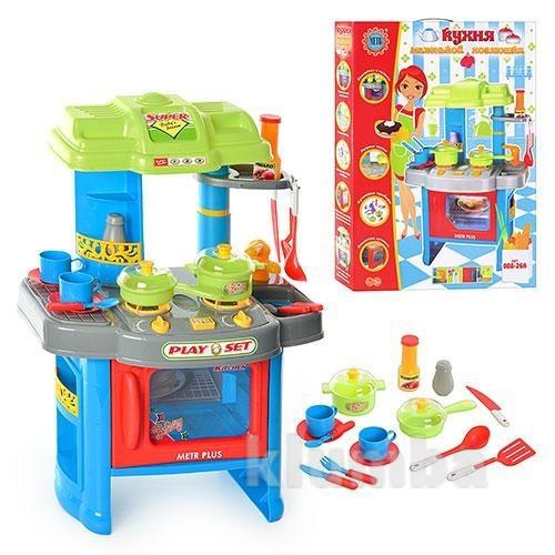 Детская кухня звук, свет. с посудкой. игровой набор розовый и голубой фото №1