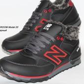 Зимние мужские кроссовки на меху,2 цвета, кожа