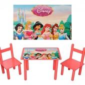 Детский стол Детский столик Принцессы, два стульчика, бук+мдф. Доставка