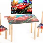 Детский столик Тачки и 2 стульчика, МДФ+бук.Доставка