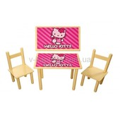 Детский столик и 2 стульчика Китти, от 2-х лет. МДФ+бук, для девочки.Доставка
